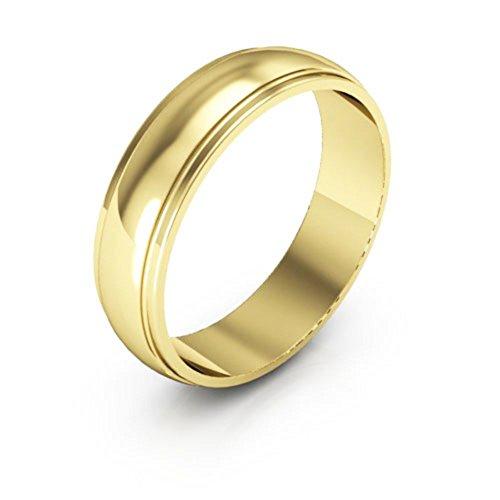 (10K Yellow Gold men's and women's plain wedding bands 5mm half round edge, 10.25)