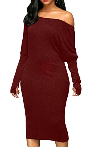 Pink Queen Ladies's Two Way Burgundy Formal Dress Loose Cotton Blend Red L - Loose Cotton Blends