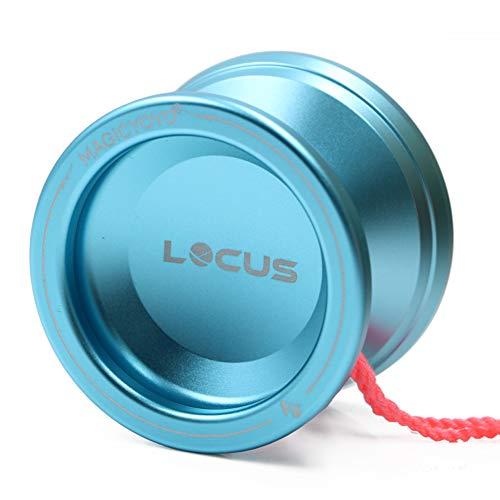 MAGICYOYO Responsive Beginners Yoyo Ball Bearing V6 LOCUS Space Aluminum Metal Yoyos Ball for Learner Kids with Bag Glove 5 Strings Blue -