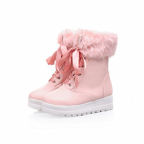 Lace Ribbon Cute Boots Faux Pink Warm Fashion Snow Flat Shoes Women's Carol Fur up S1qXwg