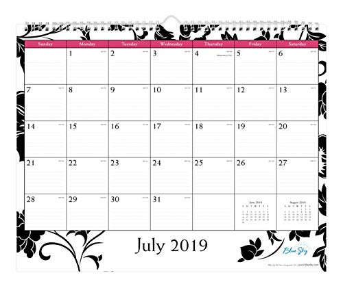 Blue Sky 2019-2020 Academic Year Monthly Wall Calendar, Twin Wire Binding, Ruled Blocks, 15