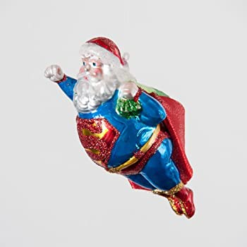 Amazon.com: SUPER SANTA Superman Glass Christmas Ornament Glitter ...