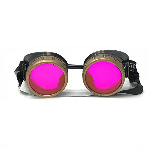 UMBRELLALABORATORY Steampunk Victorian Style Goggles with Compass Design and Neon Pink Lenses by UMBRELLALABORATORY