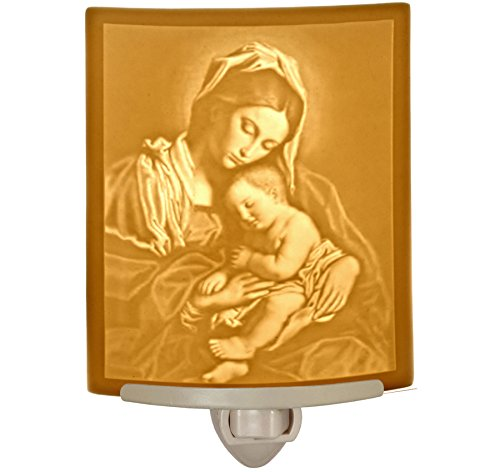 Madonna & Child - Mother Mary Curved Porcelain Lithophane Night