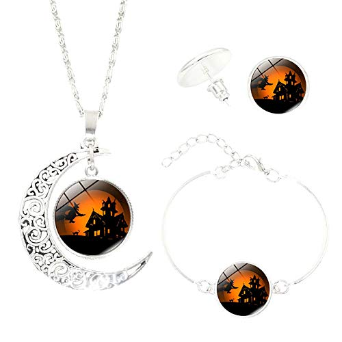 Outflower Moon Pendant Necklace Earrings Bracelet Set for Halloween Costume Party -