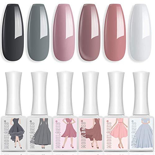 Gel Nail Polish 6 Colors 10 ML Neutral Pastel Gel Polish Soak Off LED Nail Gel Polish Pink Gray White Nude Nail Gel Set Nail Art Manicure Gift Box DIY at Home by Modelones