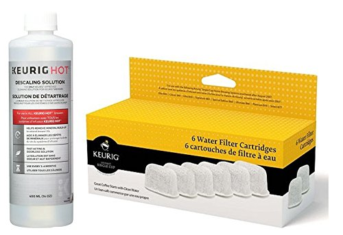 Keurig Six Water Filter Cartridges & Keurig Descaling Solution Replacement Cleaning Solution