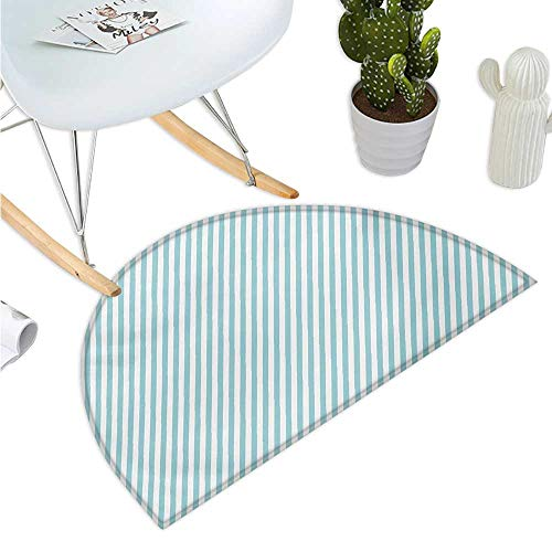 Modern Semicircle Doormat Soft Colored Skewed Bold Stripes Lines Contemporary Style Simplistic Design Entry Door Mat H 27.5