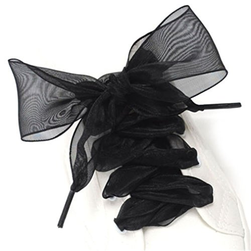 1Pair 110CM Shoestrings Women Shoelaces Flat Silk Satin Ribbon Shoe Laces Black