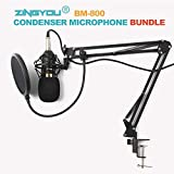 ZINGYOU Condenser Microphone Bundle, BM-800 Mic Kit with Adjustable Mic Suspension Scissor Arm, Metal Shock Mount and Double-Layer Pop Filter for Studio Recording & Broadcasting