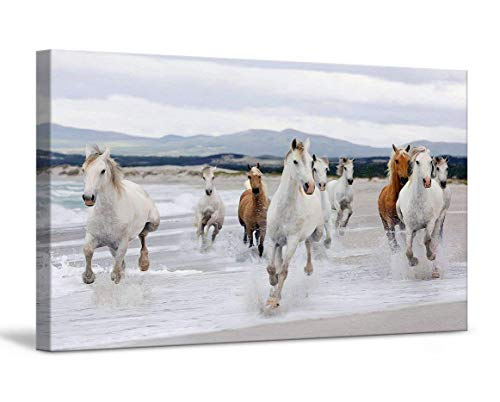 FoxyCanvas Running Horses Galloping at Beach Wild Horse Unicorn Giclee Canvas Print Stretched and Framed Wall Art for Home and Office Decorations 24x16 inch