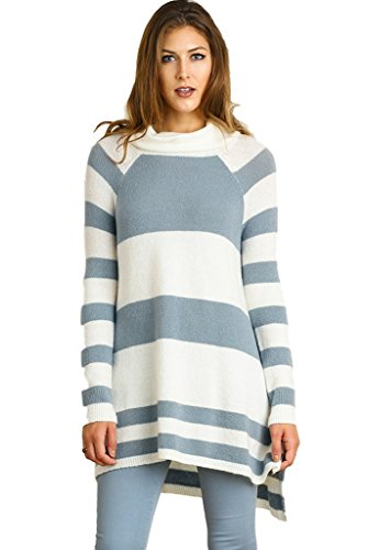 Umgee Women's Long Sleeve Striped Cowl Neck Sweater Tunic (Large, Cream/Grey) Cowl Neck Striped Sweater