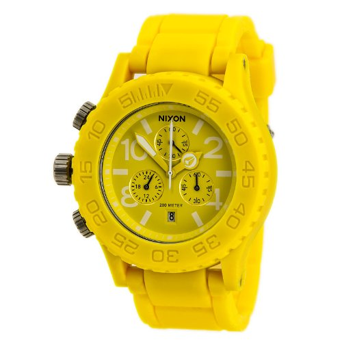 Nixon Rubber 42-20 Chrono Watch - Men/Women Yellow, One Size
