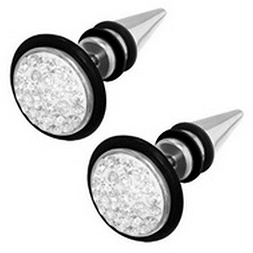 Stainless Cone with Multi CZ Look-Alike Ear Expander Men's Body Jewelry Earrings - 16 Gauge by Timeless-Treasures