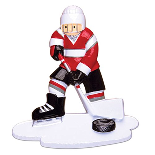 Personalized Ice Hockey Player Christmas Tree Ornament 2019 - Athlete Boy Jersey Helmet with Stick Skate Hobby School Male Profession Winter Sport Man Gift Year - Free Customization ()