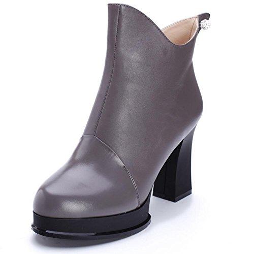 Seasons de Women grueso mujer al rhinestone y de HFour resistencia cuero antideslizante negro H botas todo ayuda gris 38 Rojo XIAOGANG alta goma grey el desgaste vwEtRx