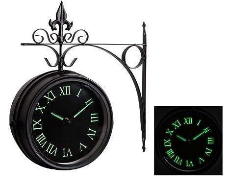Amazoncom Glow in the Dark Double Sided Outdoor Clock 35cm