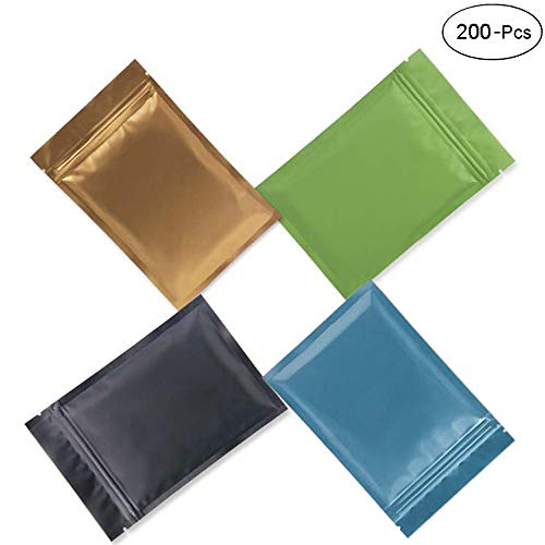 Huture 200 Pieces Foil Pouch Bags Resealable Smell Proof Bags Mylar Bags Resealable Clear Ziplock Flat Metallic Mylar bags Heat Sealable Pouch Bulk for Party Supplies Multicolor (3.1 x 4.7Inches)