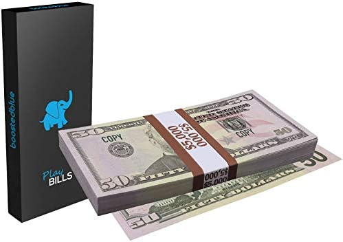 BoostedBlue 50 Dollar Bills Prop Money - Play Pack of 100 Fake Dollars for Money Gun Props Guns Movie Cash Full Print Two Sided Looks Real Kids Party Stacks  Movies TV Educational US Copy