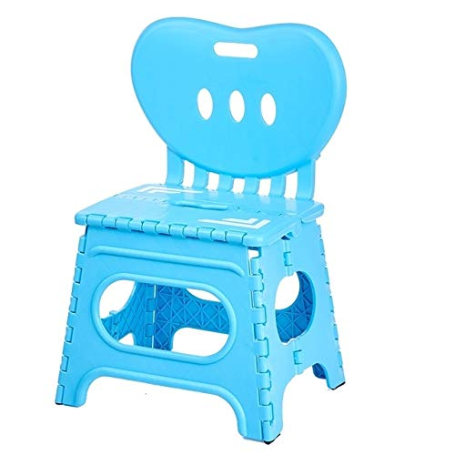 JINYANG Quality Products Multifunctional Folding Stool Plastic Backrest Portable Home Chair Creative Kindergarten Small Stool(Green) (Color : Blue) by JINYANG