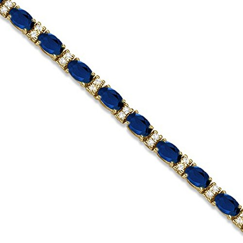 Colored Sapphire Diamond Bracelet - Diamond and Oval Cut Sapphire Tennis Bracelet 14k Yellow Gold (9.25ctw)