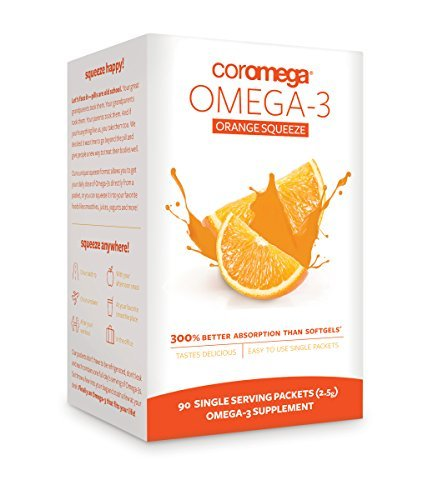 Flavor Orange Coromega - Coromega Omega-3 Supplement, Orange Flavor, Squeeze Packets, 90-Count Box (Pack of 3)