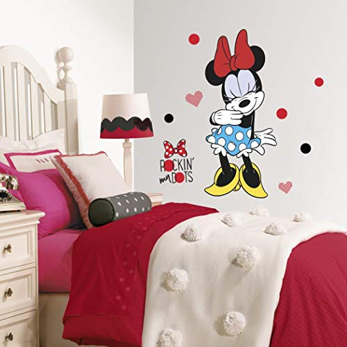 Kids Blue Red Black Minnie Mouse Wall Decal, Disney Themed Wall Stickers Peel Stick, Rockin My Dots Polka Dot Patern Cute Hearts Bow Animated Decorative Graphic Mural Art, Vinyl