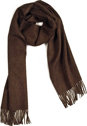 Wool Natura Pure Baby (100% Pure Baby Alpaca Scarf, Solid Natural Dye-free Colors (Dark Brown Heather))
