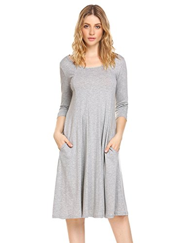 Hotouch Women's Plain Scoop Neck Draped Pockets Loose Swing Casual Midi Dress (Gray, M) from Hotouch
