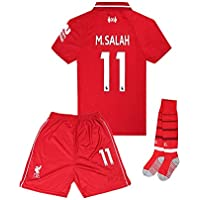 18-19 Home #11 M Salah Liverpool Kids/Youth Soccer Jersey...