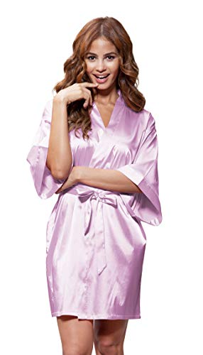 Turquaz Linen Satin Kimono Bridesmaids Robe (Small/Medium, Lavender)