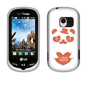 Fincibo (TM) Protector Cover Case Snap On Hard Plastic Front And Back For LG Extravert VN271 - Koi Mr Panda In Love