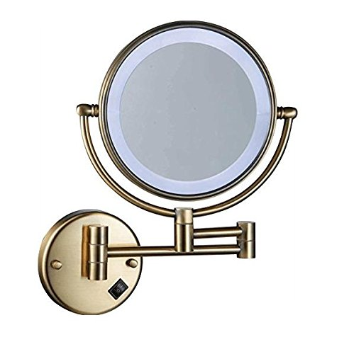 WAll Mounted Makeup Mirror, 8-Inch Two-Sided Swivel Cosmetic Mirror with Magnification,Chrome Finish 5X Bronze by TheCoolCube
