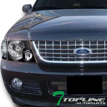 (Topline Autopart Black Clear Head Lights+Signal Parking Corner Lamp Ks 02-05 Ford Explorer 4D 4Dr)