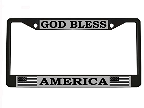 GOD BLESS AMERICA Black Metal Auto License Plate Frame Car Tag Holder