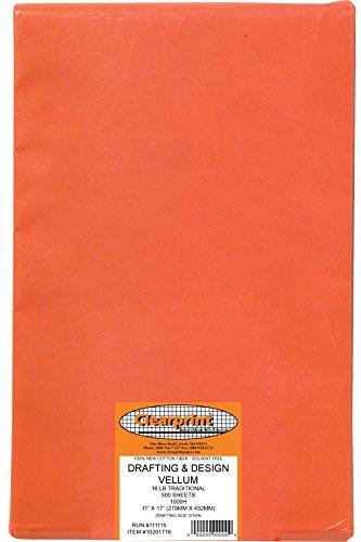 Clearprint 1000H Design Vellum Sheets, 16 lb, 100% Cotton, 11 x 17 Inches, 500 Sheets Per Pack, Translucent White, 1 Each (10201716) ()