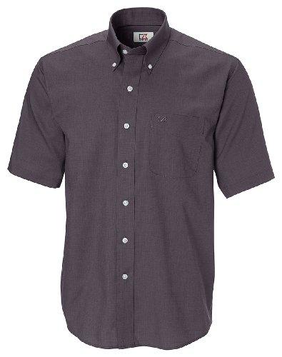 [Cutter & Buck Men's Short Sleeve Epic Easy Care Nailshead Shirt, Black, Large] (Cutter Buck Logo Shirts)