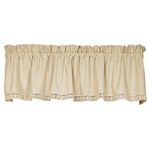 Homespun Linen - Granny's Homespun Linen & Lace Beige Window Valance Lace Trim 72