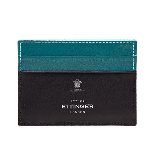 Ettinger Mens Sterling Flat Credit Card Case - Turquoise/Black by Ettinger
