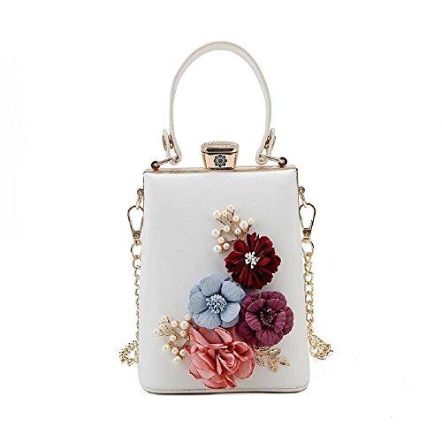 Women's Flower Evening Bag Pearl Beaded Clutches Banquet Handbag (White)