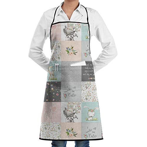 Kitchen Aprons Woodland Friends Patchwork - I Woke Up This Cute Wholecloth Deer Fox Raccoon Bunny (Grey Blush) Adjustable Bib Apron with Pockets 28.3x20.5inch