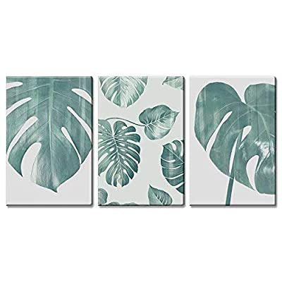 3 Panel Canvas Wall Art - Retro Style Large Green Tropical Leaves - Giclee Print Gallery Wrap Modern Home Art Ready to Hang - 16