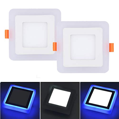Pocketman Ultra-Thin Square Double Color LED Panel Recessed Ceiling Light,12+4w 1400 Lumens 7.48-inch Ceiling Downlight,Cold White+ Blue with LED Driver