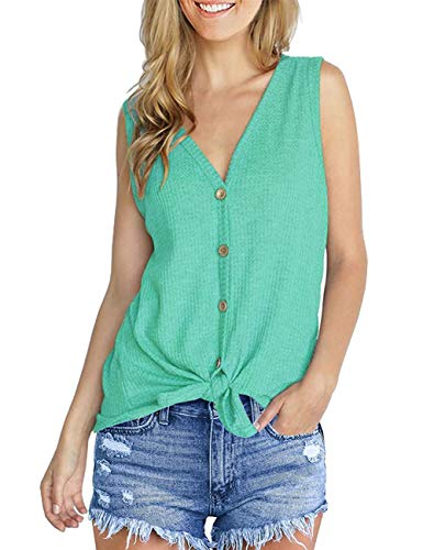 (Aokosor Womens Tie Front Tank Tops Loose Fitting Casual Blouse Button Down Sleeveless Shirts Plus Size)