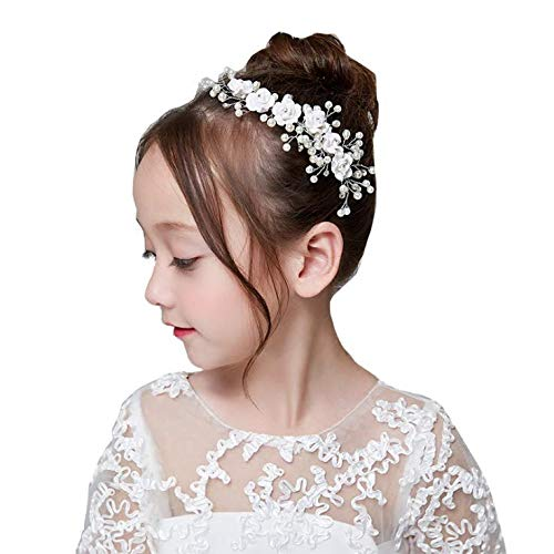 - Campsis Cute Princess Wedding Headpiece White Flower Headband Pearl Wedding Hair Accessories for Girl and Women Bridal Wedding Tiaras for Flower Girl and Bridal.