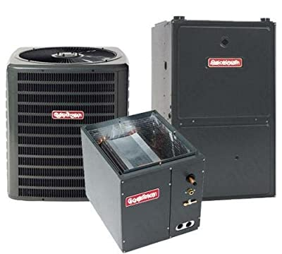 3.5 Ton Goodman 16 SEER R410A 96% AFUE 80,000 BTU Two-Stage Variable Speed Vertical Gas Furnace Split System