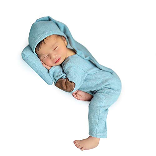 Foryora Newborn Photography Props Outfits - 2Pcs Handmade Set Baby Boy Girl Blue]()
