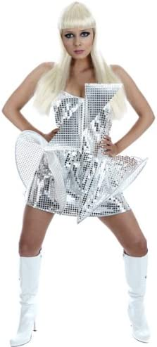LADY POP DIVA FANCY DRESS COSTUME SILVER SEQUIN EXTRA SMALL LADIES ...