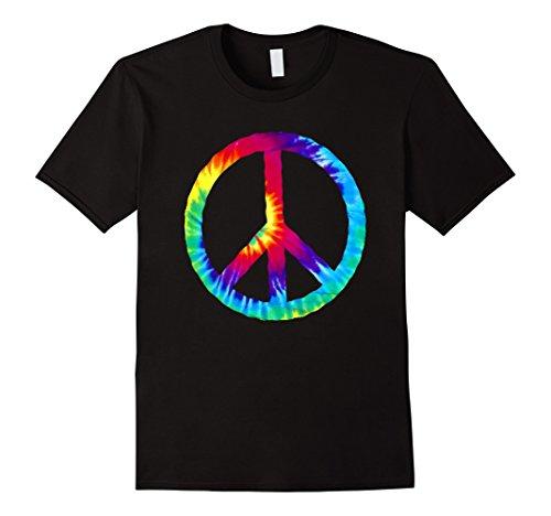 Peace Not War Costume (Mens Hippie Tie Dye Peace Sign costume t-shirt XL)