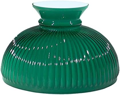 B P Lamp 10 Shade, Ribbed Student, Cased Green Over Opal